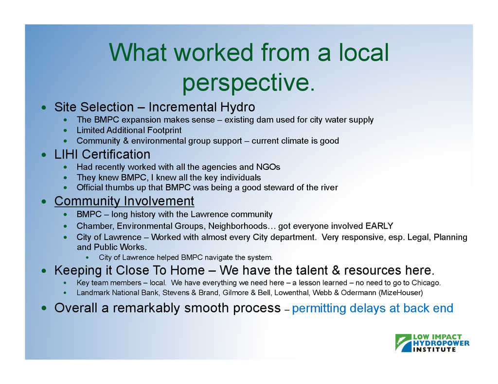 What worked from a local perspective.   Site S...