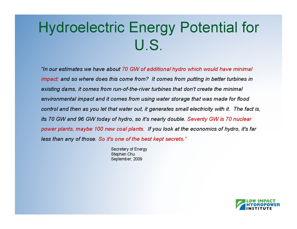 "Hydroelectric Energy Potential for U.S. ""In our..."