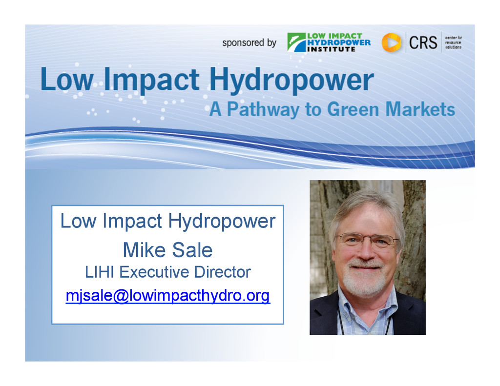 Low Impact Hydropower Mike Sale LIHI Executive ...