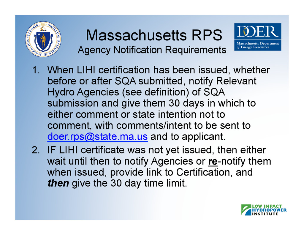 Massachusetts RPS Agency Notification Requireme...
