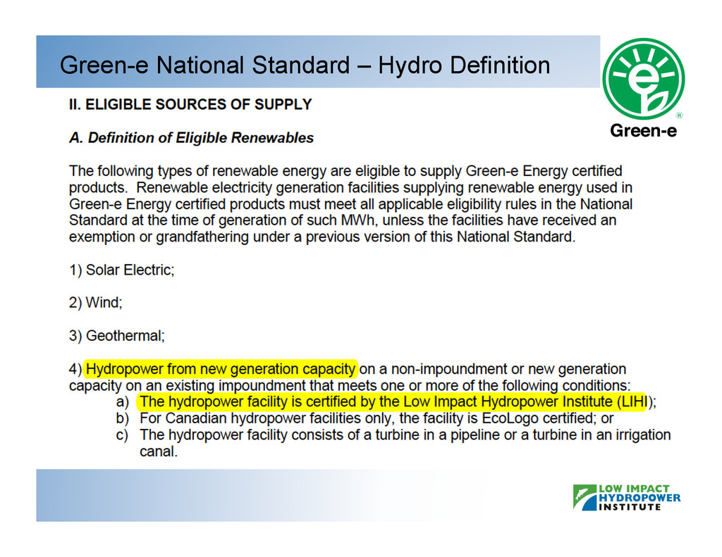 Green-e National Standard – Hydro Definition