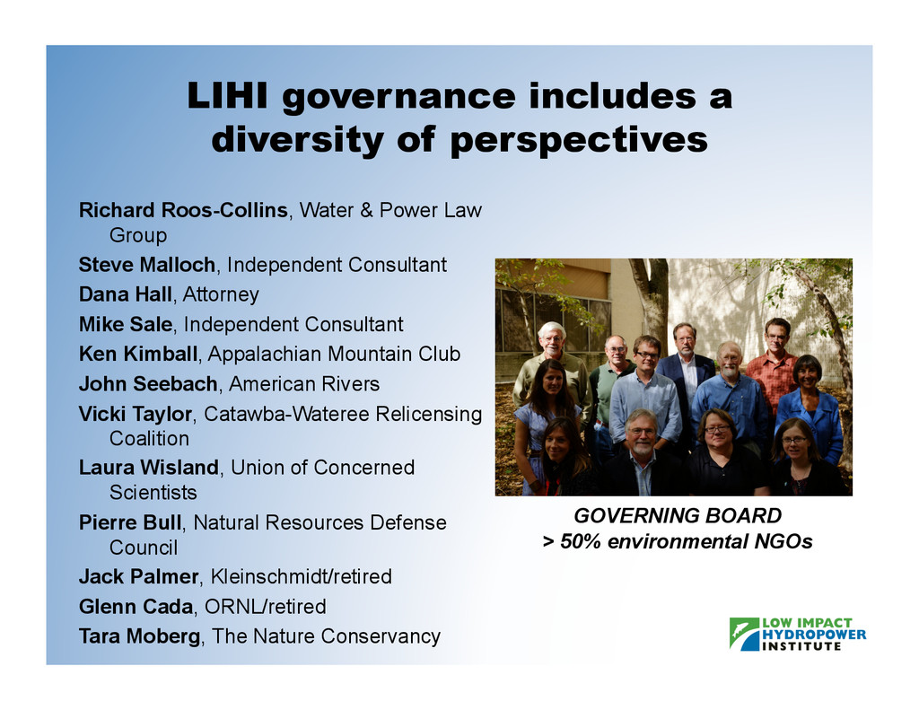 LIHI governance includes a diversity of perspec...