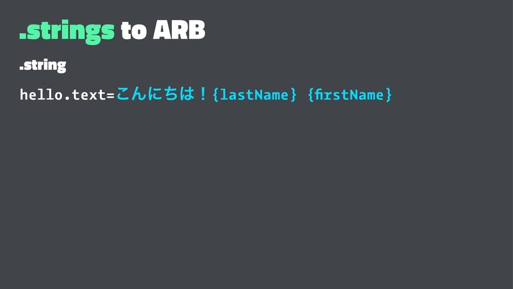 .strings to ARB .string hello.text=͜Μʹͪʂ{lastN...