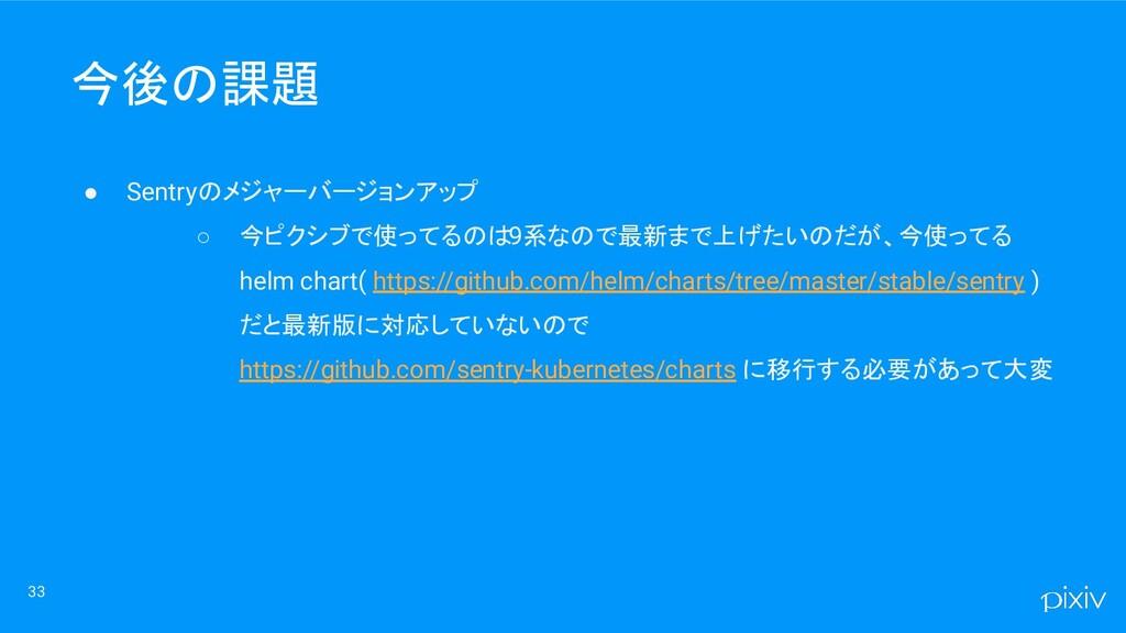 33 ● Sentryのメジャーバージョンアップ ○ 今ピクシブで使ってるのは9系なので最新ま...