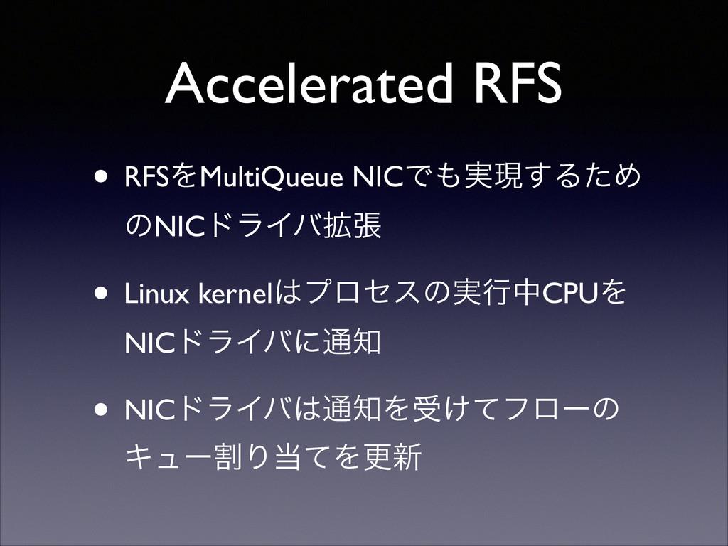 Accelerated RFS • RFSΛMultiQueue NICͰ࣮ݱ͢ΔͨΊ ͷN...
