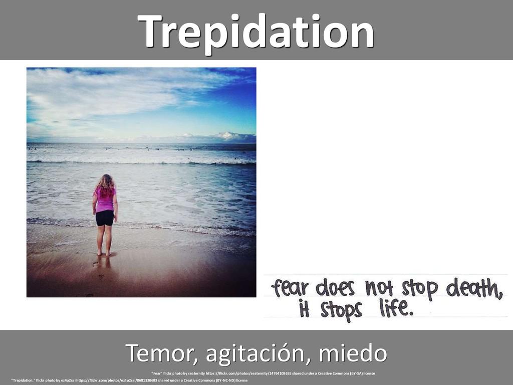 """Trepidation Temor, agitación, miedo """"Trepidatio..."""
