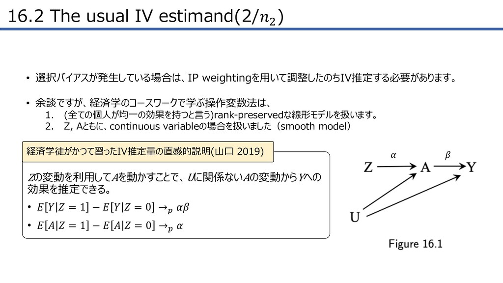 16.2 The usual IV estimand(2/! )   Zの変動を利⽤してAを動...