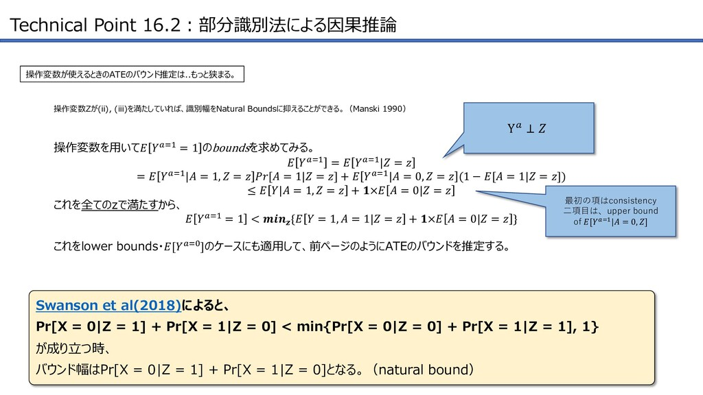 Technical Point 16.2︓部分識別法による因果推論 操作変数が使えるときのAT...