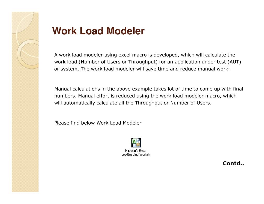 Work Load Modeler Work Load Modeler A work load...