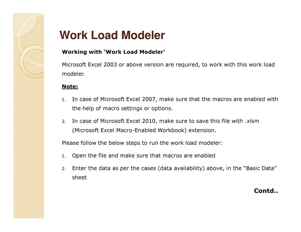 Work Load Modeler Work Load Modeler Working wit...