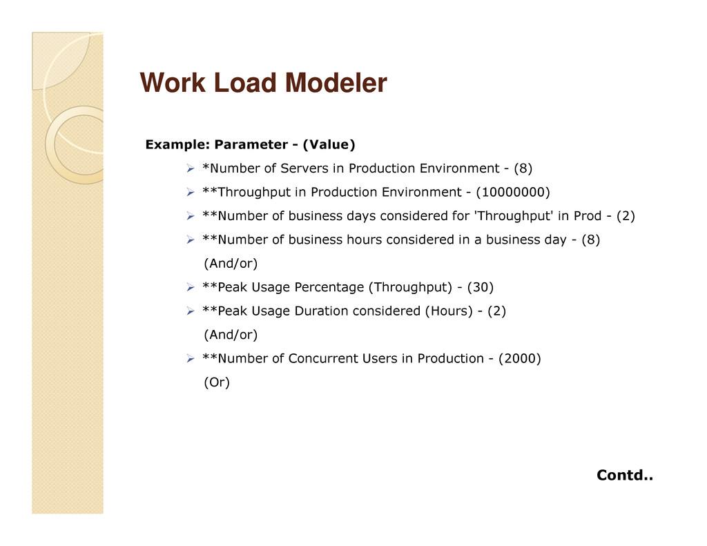 Work Load Modeler Work Load Modeler Example: Pa...