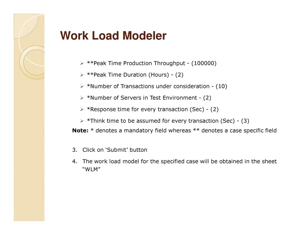 Work Load Modeler Work Load Modeler **Peak Time...