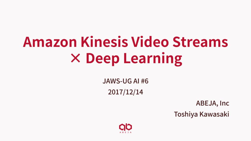 Amazon Kinesis Video Streams × Deep Learning JA...