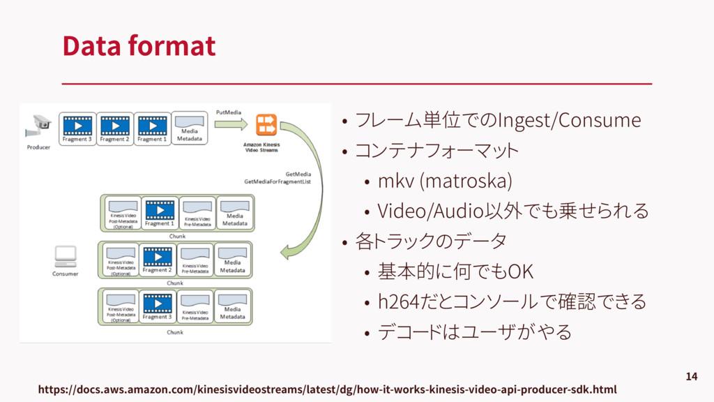 • フレーム単位でのIngest/Consume • コンテナフォーマット • mkv (ma...