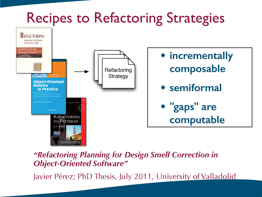 Refactoring Strategy • incrementally composable...