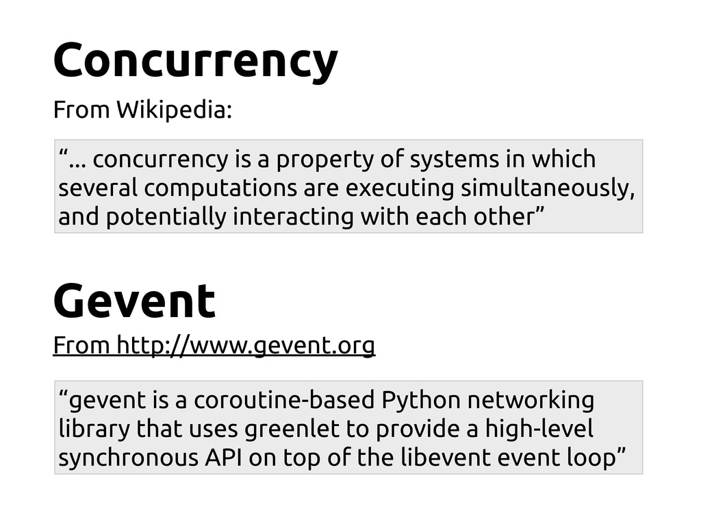 "Concurrency From Wikipedia: ""... concurrency is..."
