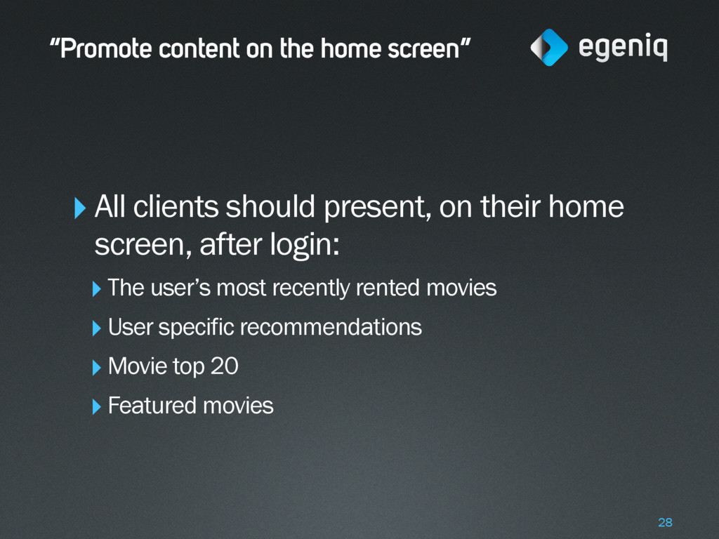 """""""Promote content on the home screen"""" ‣All clien..."""