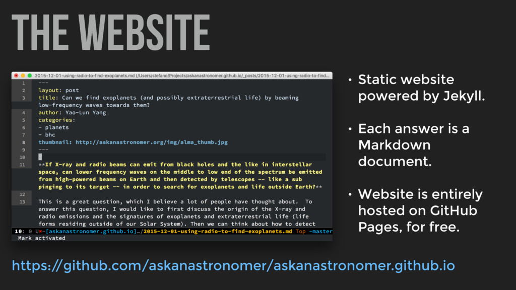 the website • Static website powered by Jekyll....