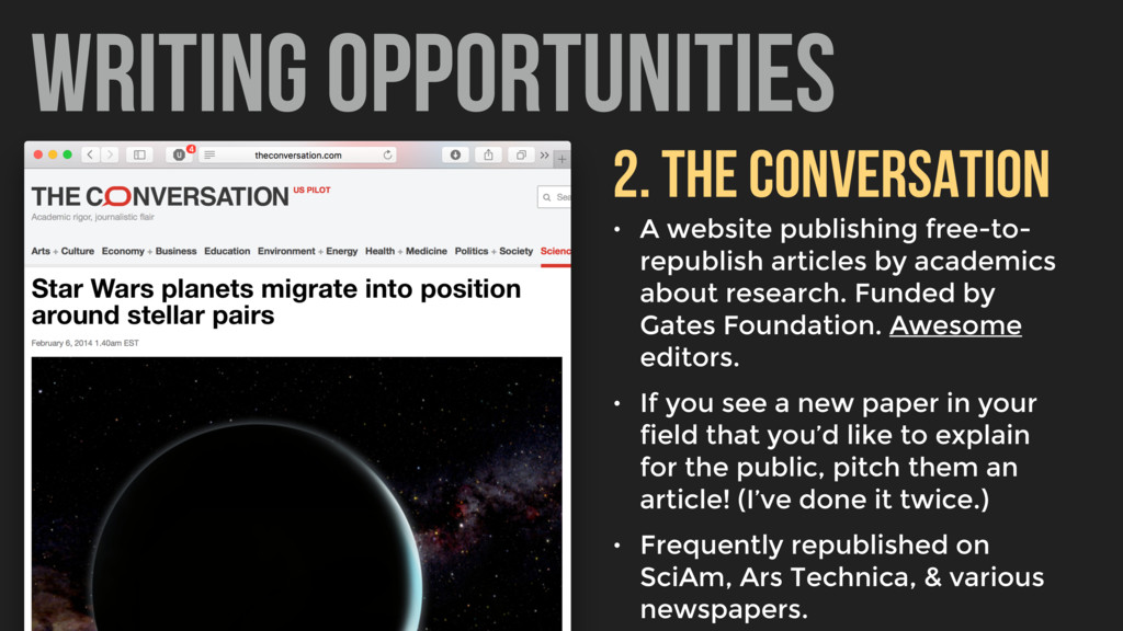 WRITING OPPORTUNITIES 2. THE CONVERSATION • A w...