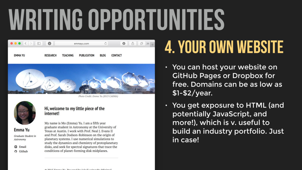 WRITING OPPORTUNITIES 4. YOUR OWN WEBSITE • You...