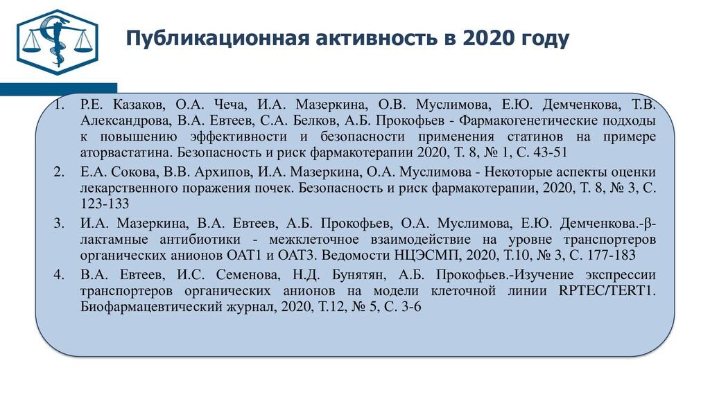 Публикационная активность в 2020 году 1. Р.Е. К...