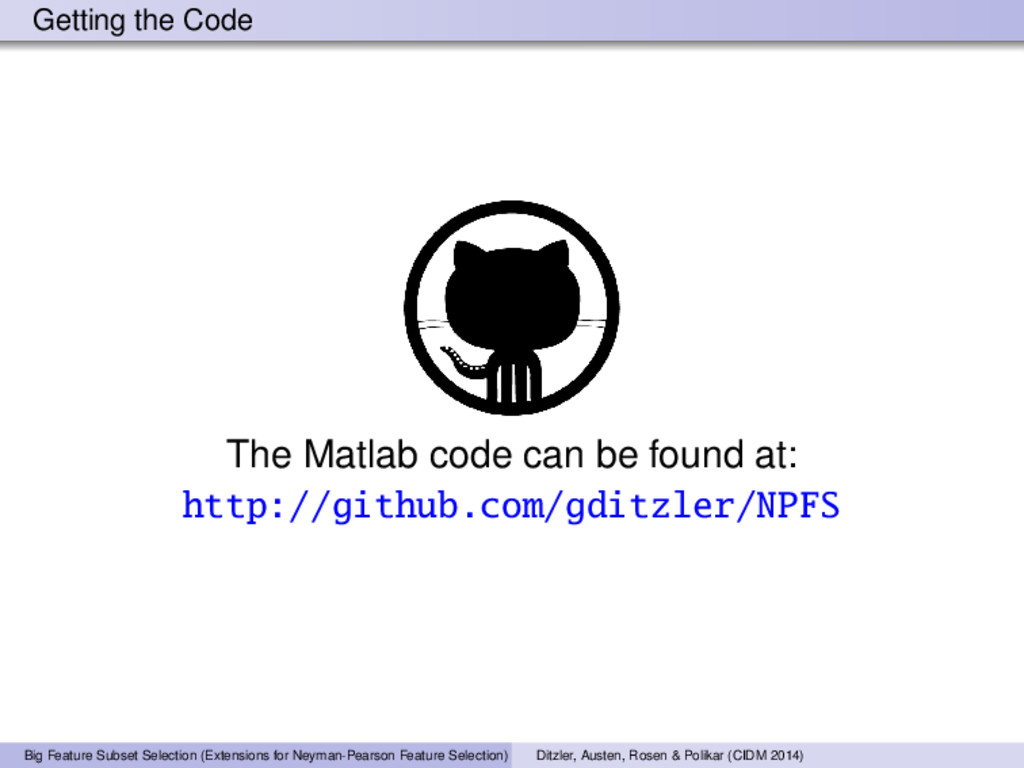 Getting the Code The Matlab code can be found a...