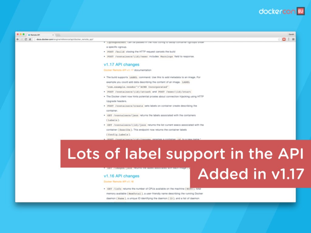 Added in v1.17 Lots of label support in the API