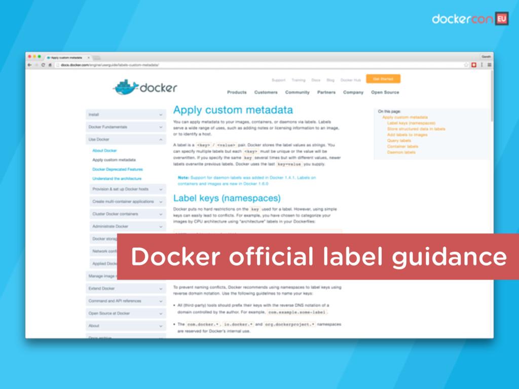 Docker official label guidance
