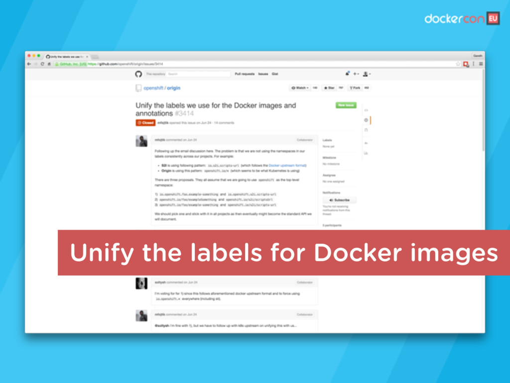 Unify the labels for Docker images