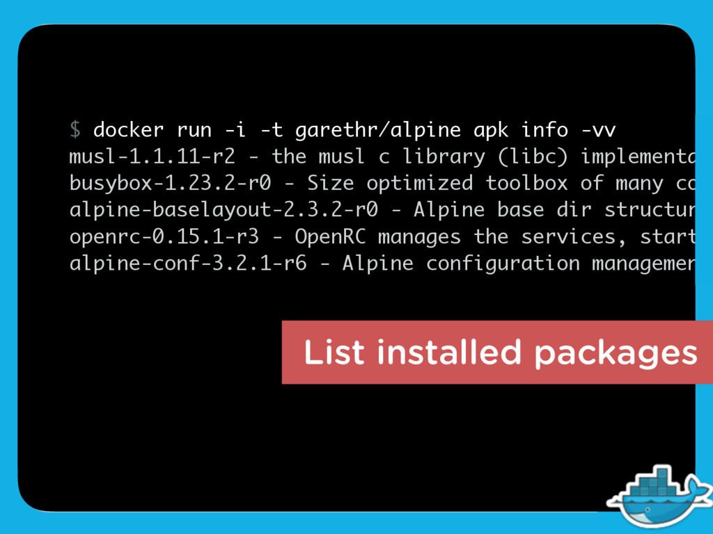 $ docker run -i -t garethr/alpine apk info -vv ...