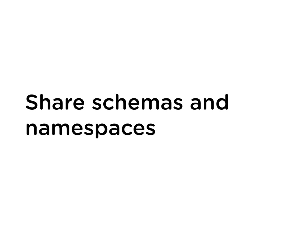 Share schemas and namespaces