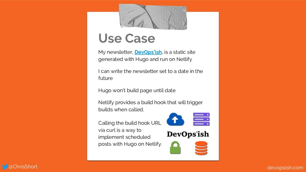 Use Case My newsletter, DevOps'ish, is a static...