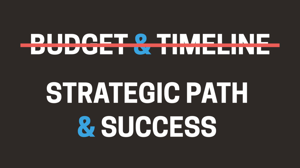 BUDGET & TIMELINE STRATEGIC PATH & SUCCESS