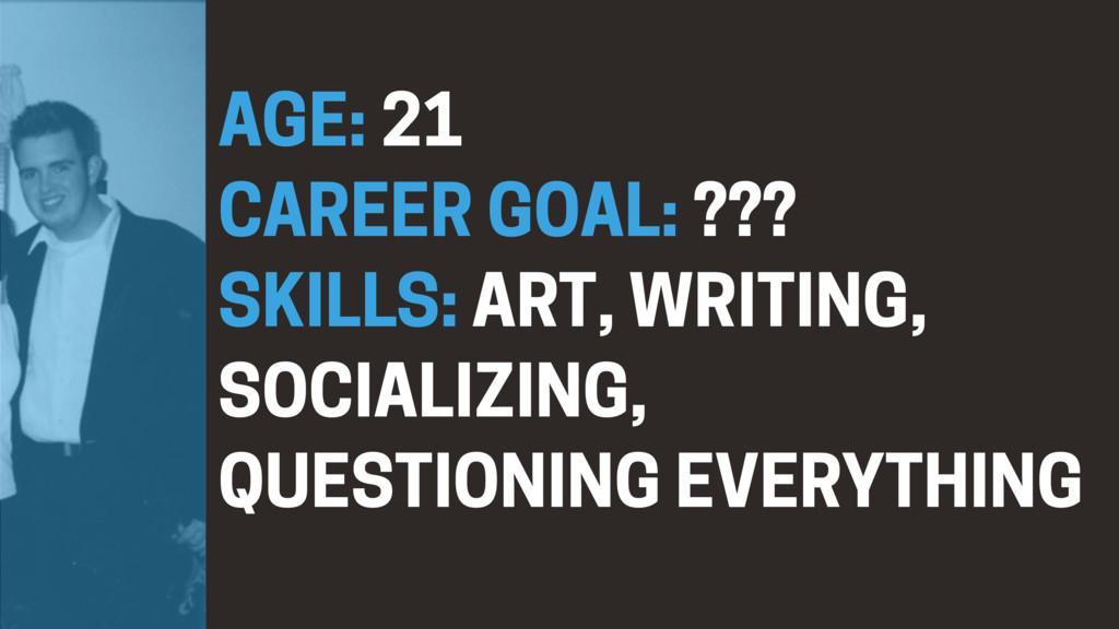 AGE: 21 CAREER GOAL: ??? SKILLS: ART, WRITING, ...