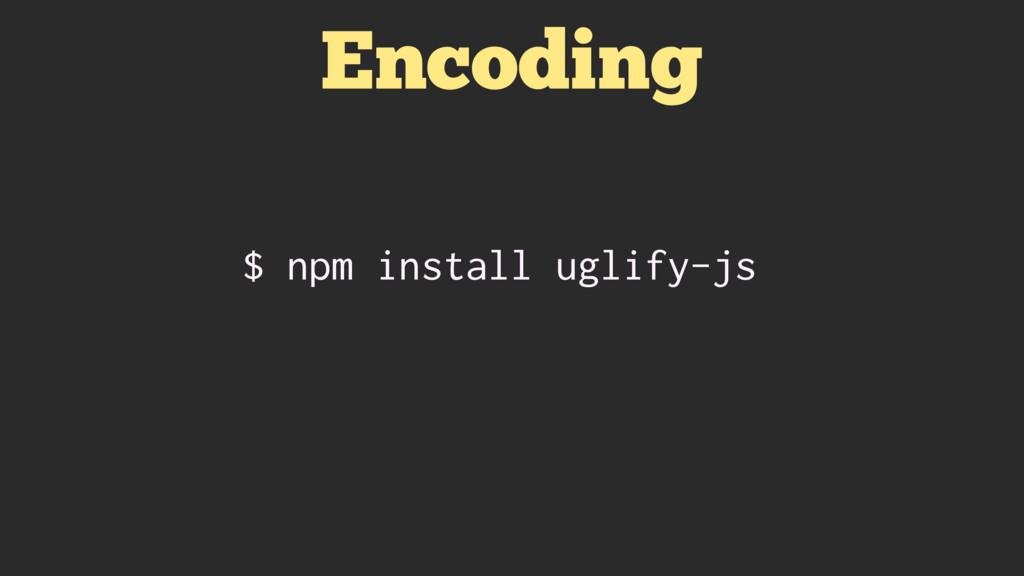 Encoding $ npm install uglify-js