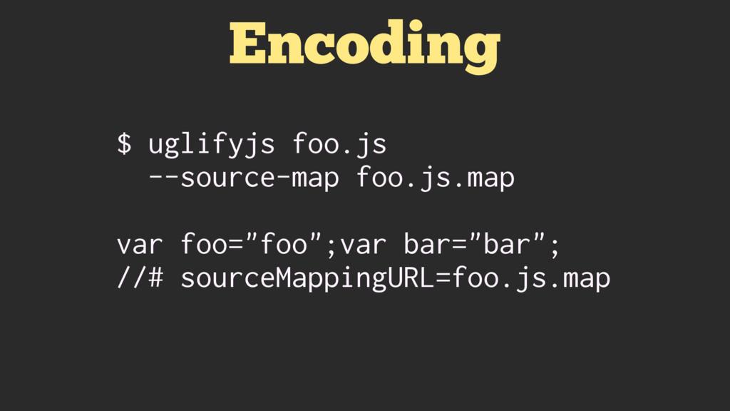 Encoding $ uglifyjs foo.js --source-map foo.js....