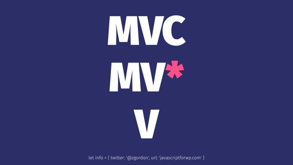 MVC MV* V let info = { twitter: '@zgordon', url...