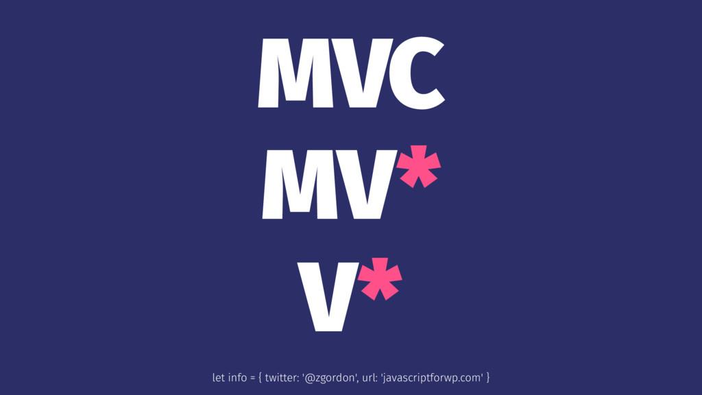 MVC MV* V* let info = { twitter: '@zgordon', ur...