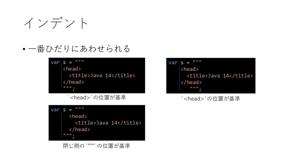 "var s = """""" <head> <title>Java 14</title> </hea..."