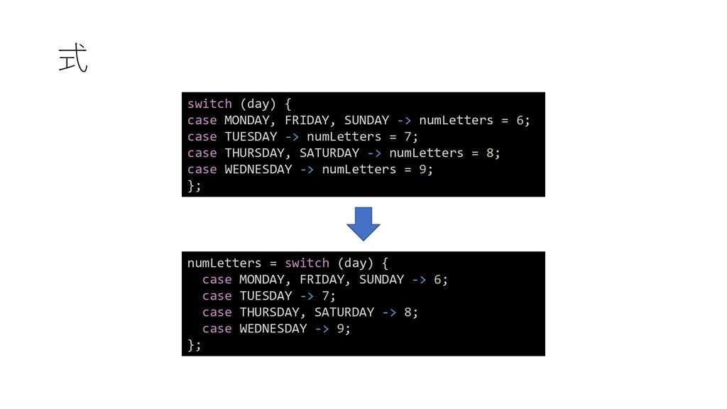式 switch (day) { case MONDAY, FRIDAY, SUNDAY ->...
