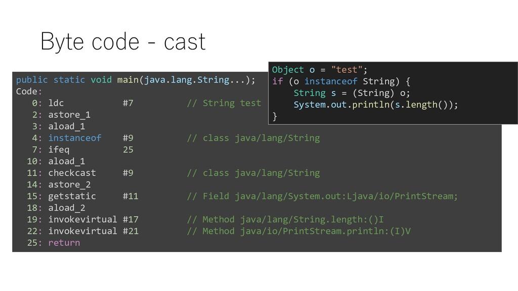 Byte code - cast public static void main(java.l...