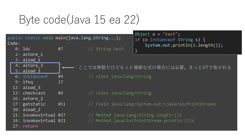 Byte code(Java 15 ea 22) public static void mai...