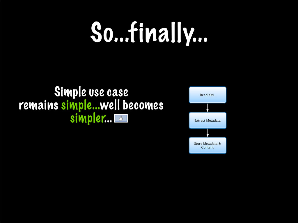 So...finally... Simple use case remains simple....
