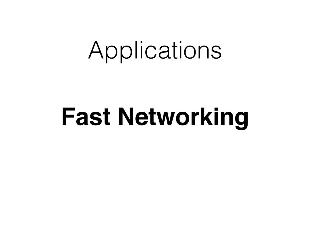 Applications Fast Networking