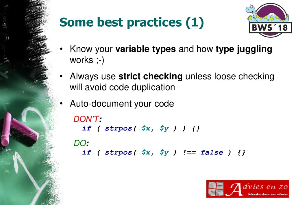 Some best practices (1) • Know your variable ty...