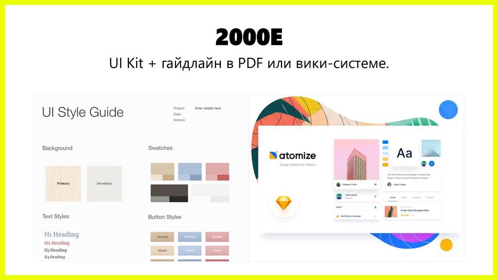 2000Е UI Kit + гайдлайн в PDF или вики-системе.