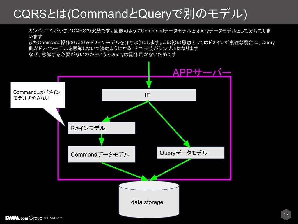 © DMM.com CQRSとは(CommandとQueryで別のモデル) 17 data s...