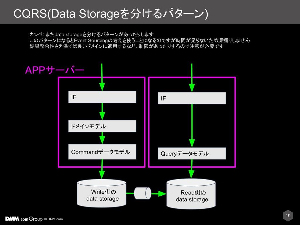 © DMM.com CQRS(Data Storageを分けるパターン) 19 Write側の...