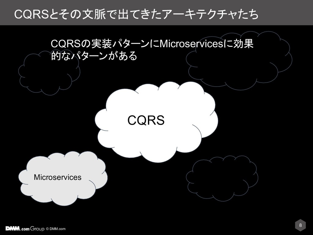 © DMM.com CQRSとその文脈で出てきたアーキテクチャたち 8 CQS CQRS DD...
