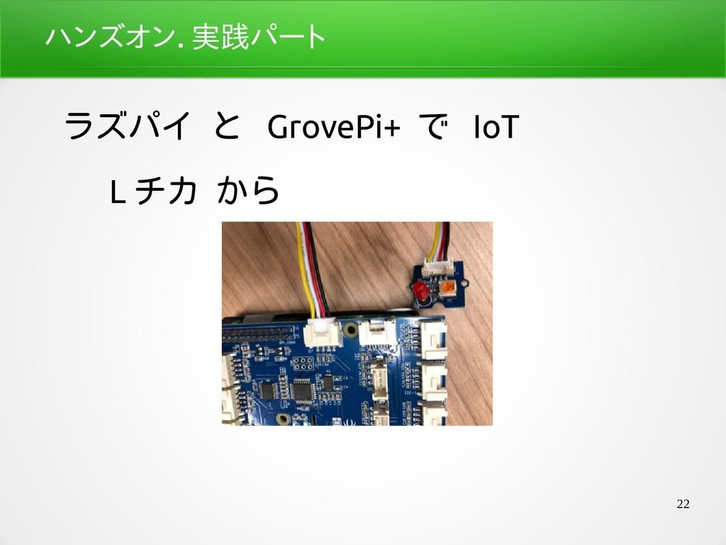 22 ハンズオン.座学パート実践パートパート ラズパイ と GrovePi+ で IoT L ...